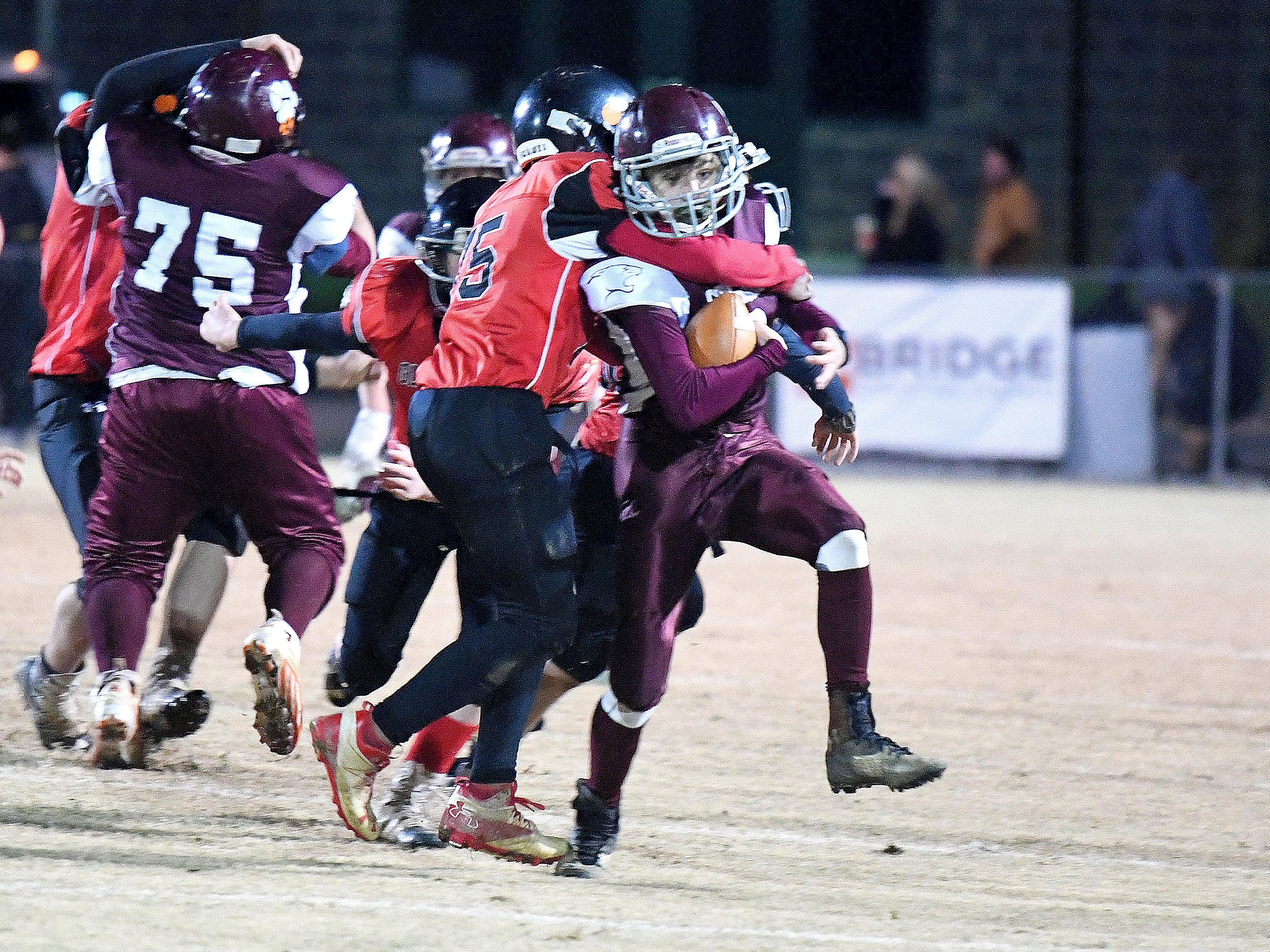 Stuarts Draft's Jacob Bryan is wrapped up from behind during the Augusta County Quarterback Club Seniors Super Bowl in Fishersville on Sunday, Nov. 11, 2018.  RIverheads defeats Stuarts Draft, 38-6.