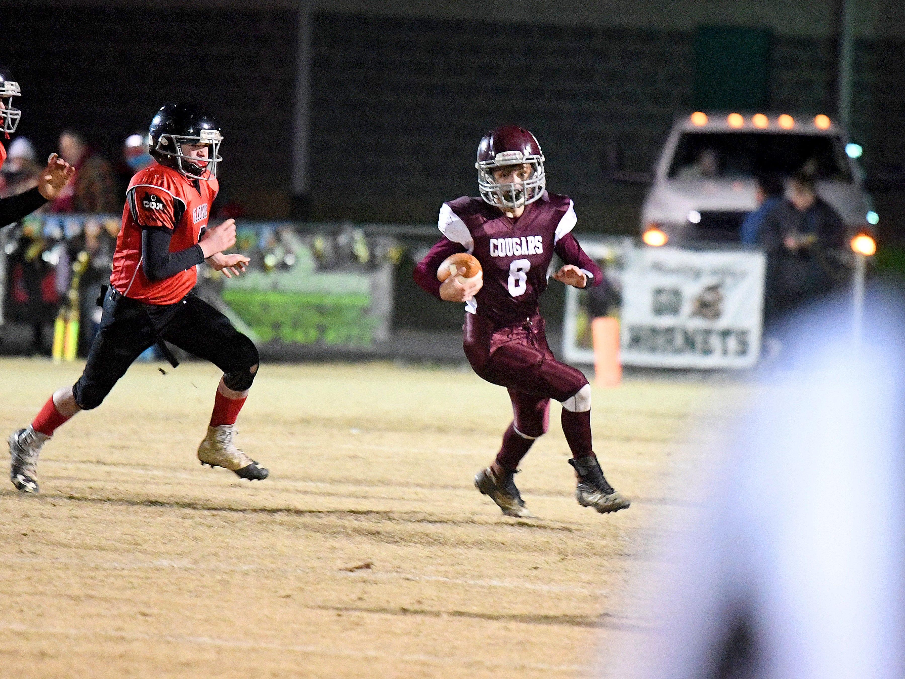 Stuarts Draft's Jacob Bryan runs the football during the Augusta County Quarterback Club Seniors Super Bowl in Fishersville on Sunday, Nov. 11, 2018.  RIverheads defeats Stuarts Draft, 38-6.