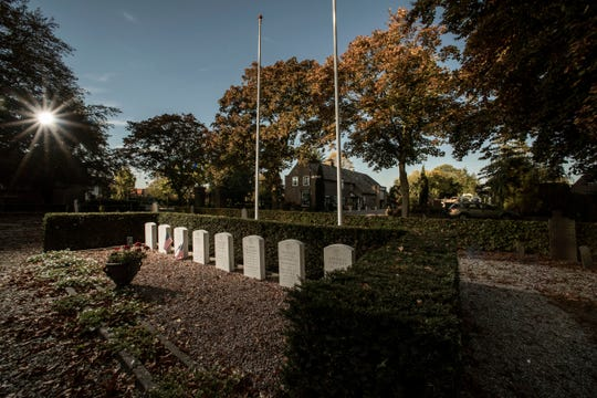 The graves of the eight American World War II pilots in the village of Opijnen, Netherlands.