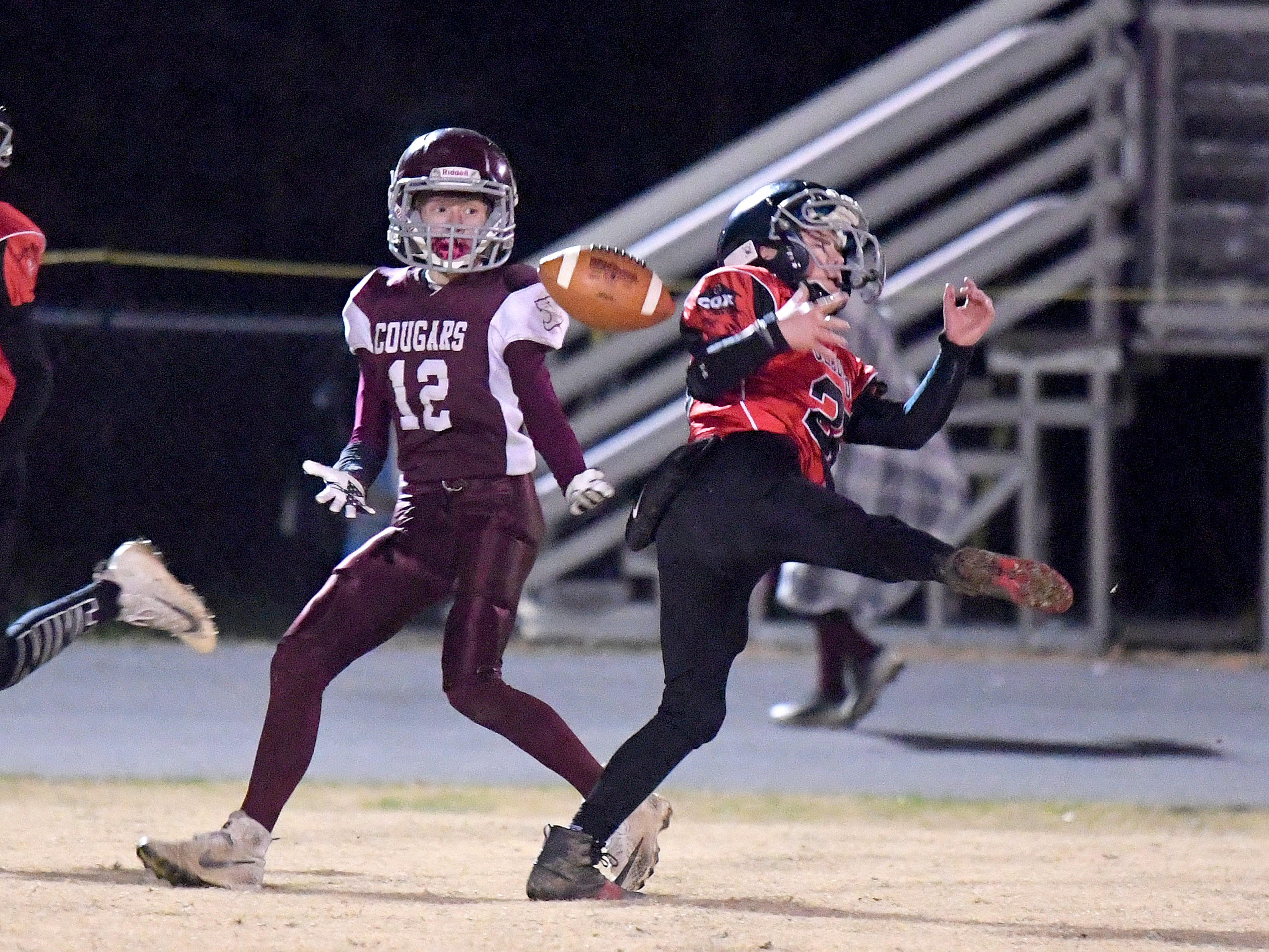 RIverheads' Cole Fletcher almost intercepts a pass intended for Stuarts Draft's Zachary Claytor (left) during the Augusta County Quarterback Club Seniors Super Bowl in Fishersville on Sunday, Nov. 11, 2018.  RIverheads defeats Stuarts Draft, 38-6.