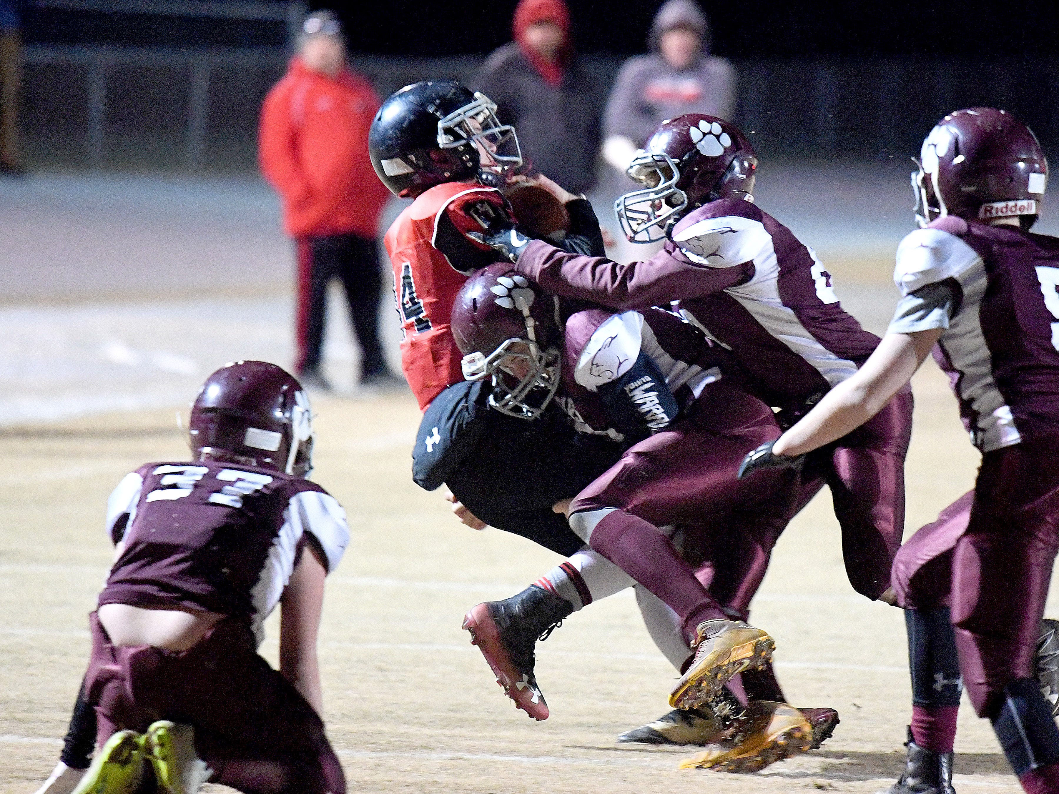 Riverheads' Cayden Cook Cash is brought down with the football by several Stuarts Draft defenders during the Augusta County Quarterback Club Seniors Super Bowl in Fishersville on Sunday, Nov. 11, 2018.  RIverheads defeats Stuarts Draft, 38-6.