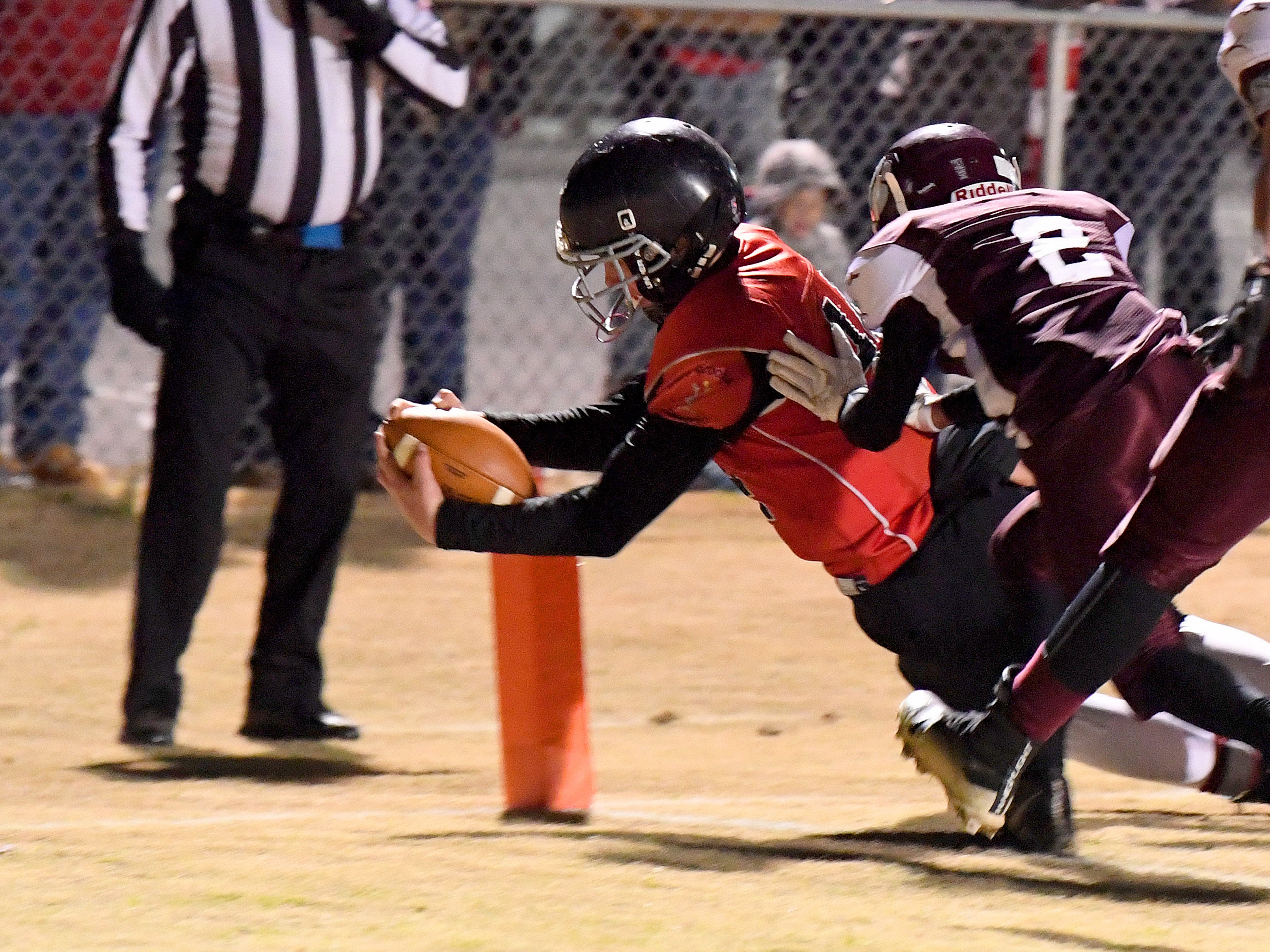 Riverheads' Cayden Cook Cash dives into the end zone for a touchdown during the Augusta County Quarterback Club Seniors Super Bowl in Fishersville on Sunday, Nov. 11, 2018.  RIverheads defeats Stuarts Draft, 38-6.