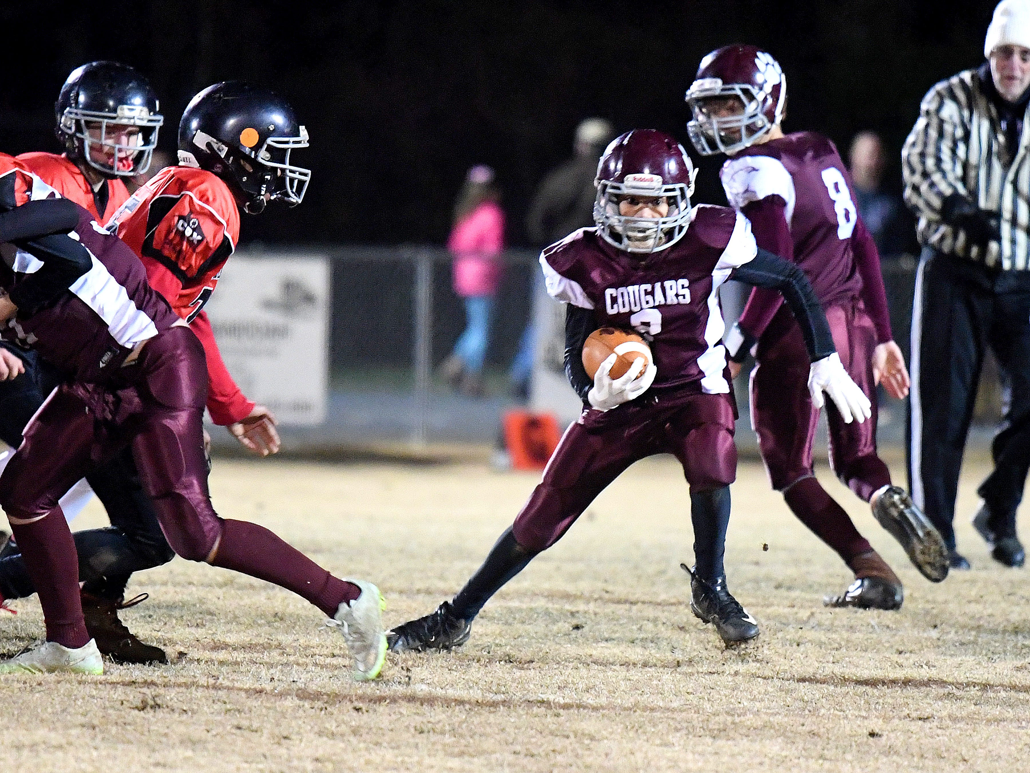 Stuarts Draft's Andre Ellis runs the football during the Augusta County Quarterback Club Seniors Super Bowl in Fishersville on Sunday, Nov. 11, 2018.  RIverheads defeats Stuarts Draft, 38-6.