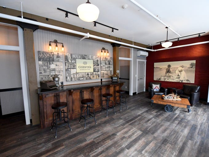 Inside the lobby for Gibson's Warehouse. Gibson's is a boutique hotel located on Middlebrook Avenue across from the train station in Staunton.