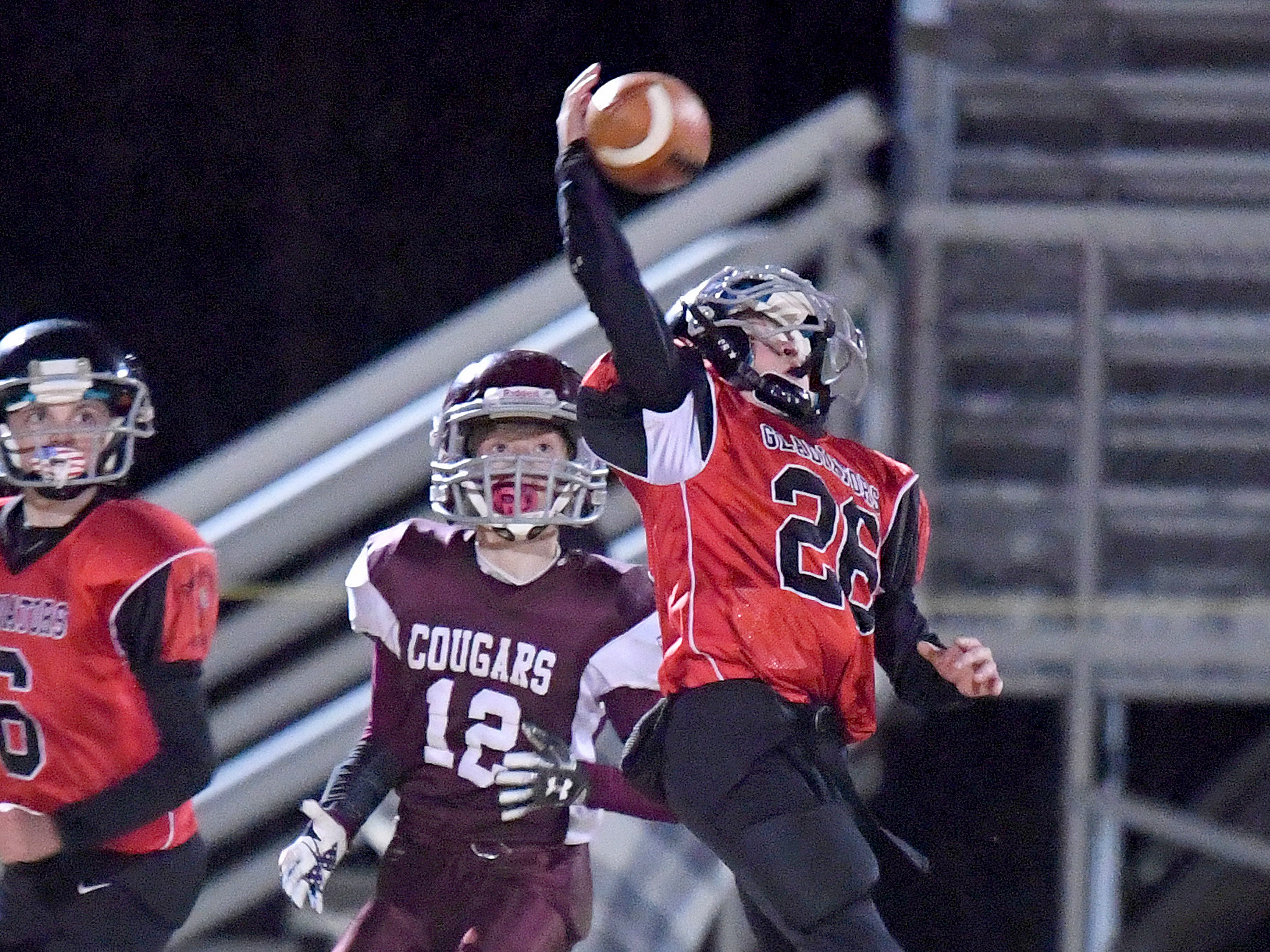 RIverheads' Cole Fletcher gets his hands on a pass intended for Stuarts Draft's Zachary Claytor but is unable to come away with the interception during the Augusta County Quarterback Club Seniors Super Bowl in Fishersville on Sunday, Nov. 11, 2018.  RIverheads defeats Stuarts Draft, 38-6.