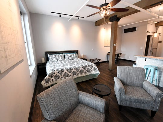 Inside Gibson's Warehouse's guest room No. 3. Gibson's is a boutique hotel located on Middlebrook Avenue across from the train station in Staunton.