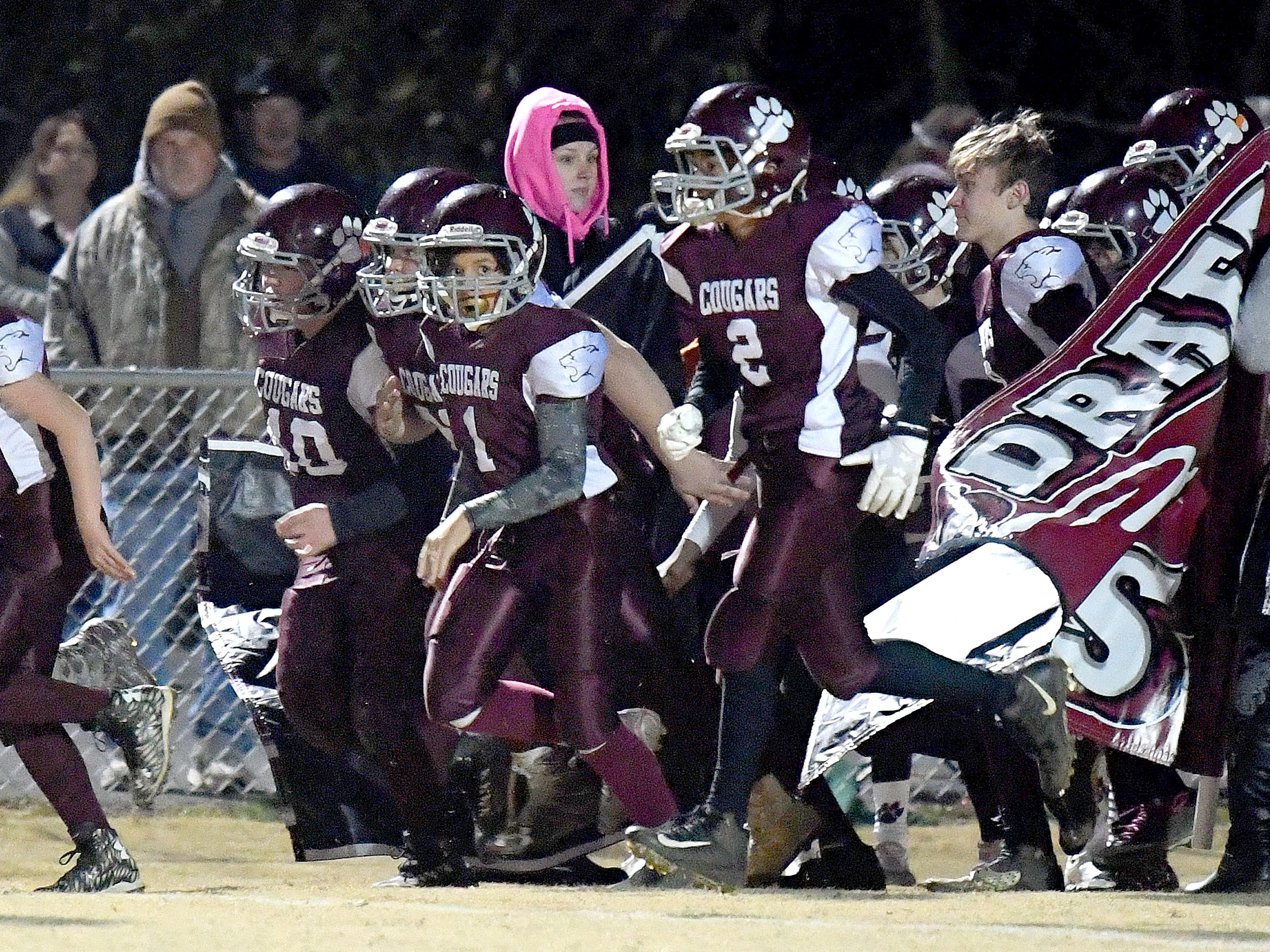 Stuarts Draft players take the field for the start of their Augusta County Quarterback Club Seniors Super Bowl in Fishersville on Sunday, Nov. 11, 2018.  RIverheads defeats Stuarts Draft, 38-6.