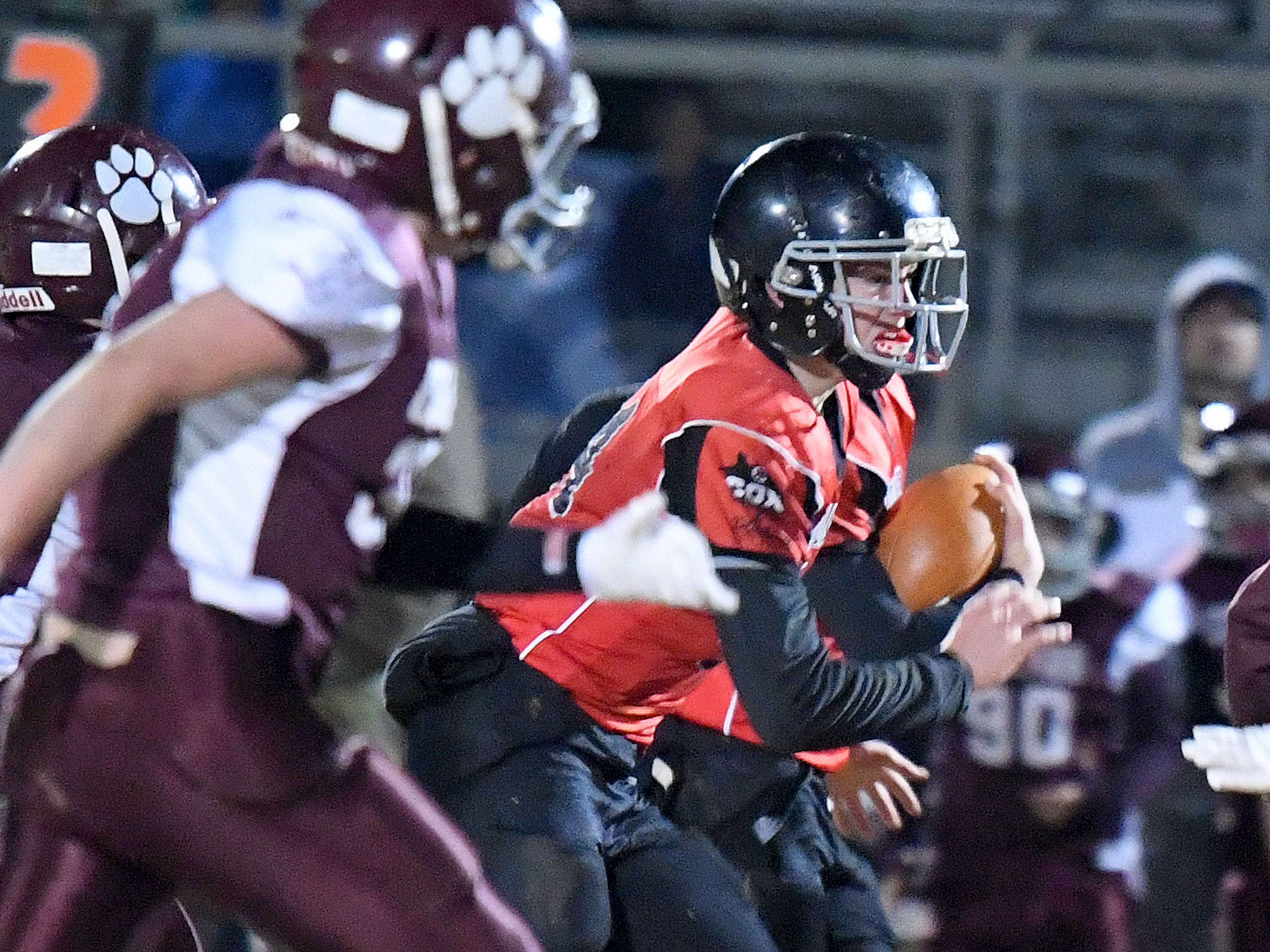 Riverheads' Cayden Cook Cash runs the football during the Augusta County Quarterback Club Seniors Super Bowl in Fishersville on Sunday, Nov. 11, 2018.  RIverheads defeats Stuarts Draft, 38-6.