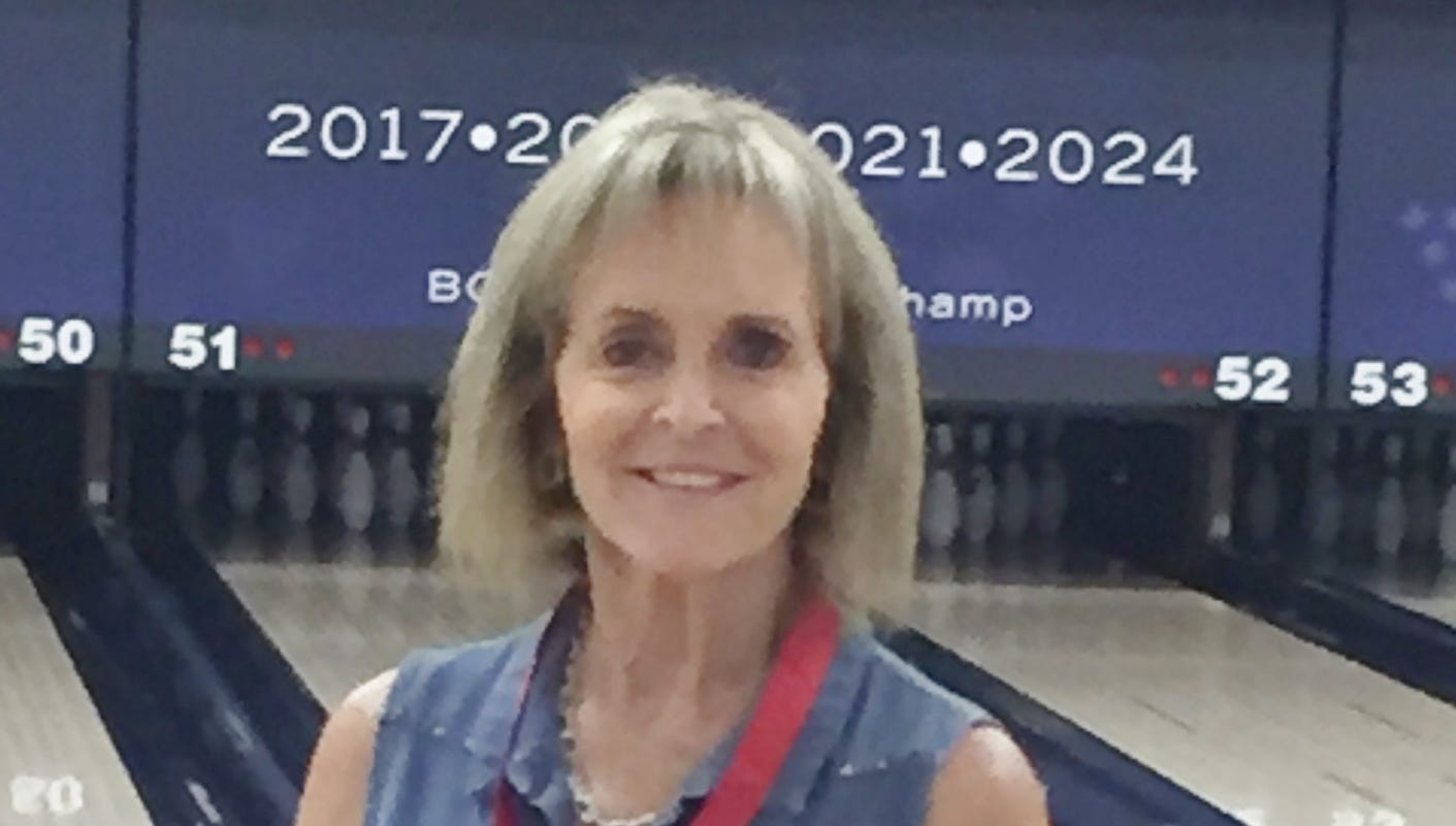 Debbie Lehnen, pictured here before a tournament in Las Vegas, paced a St. George bowling league last week with a 611 series.