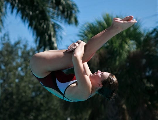 Chiles senior diver Rainey Vause competes at the FHSAA Class 3A state meet. Vause finished third with a career-best score.