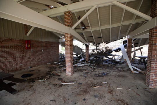 The Sweet Gum pavilion roof at Florida Caverns State Park was destroyed by Hurricane Michael.