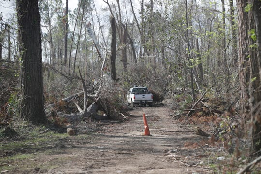 Crews work to clean up debris across the Florida Caverns State Park in Marianna, Fla. Friday, Nov. 9, 2018, a month after Hurricane Michael.