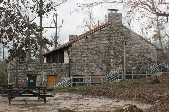 The Florida Caverns State Park visitors center was only minorly damaged during Hurricane Michael. A month after the storm, crews at the park are working to clear roadways and parking lots to allow for the visitors center to be the first site to re-open in the park.