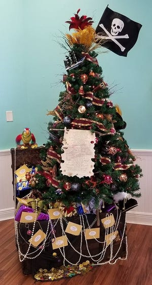 More than 70 trees, wreaths and centerpieces will be on display at the Festival, like this Pirate Tree, donated by Century 21 IRP Realty for the 2017 event.