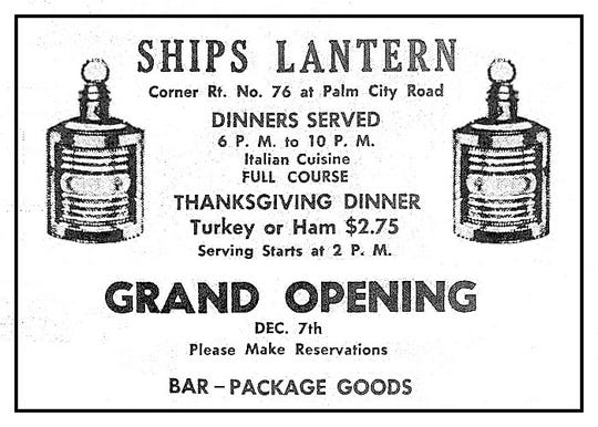 Ships Lantern Restaurant advertisement in 1957.