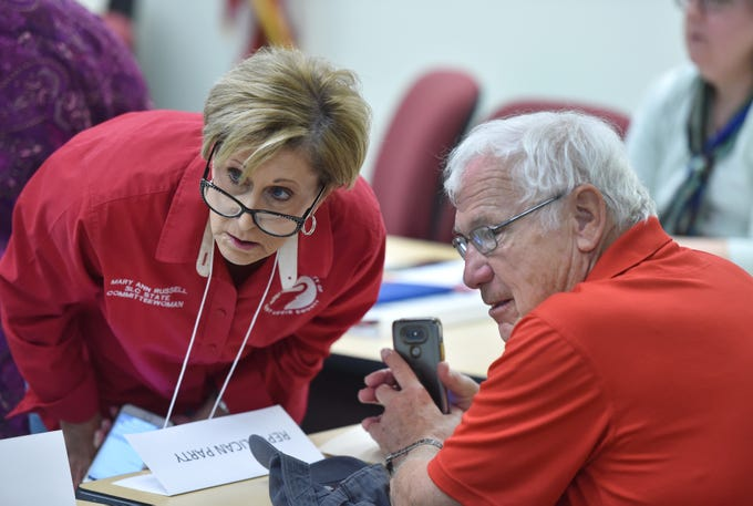 St. Lucie County Republican Executive Committee members Mary Ann Russell (left) and Alan Winslow watch over the proceedings at the St. Lucie County Supervisor of Elections office as members of the media, Republican and Democratic party witnesses, and the general public, watch the elections office staff perform a machine recount on Monday, Nov. 12, 2018, in Fort Pierce.