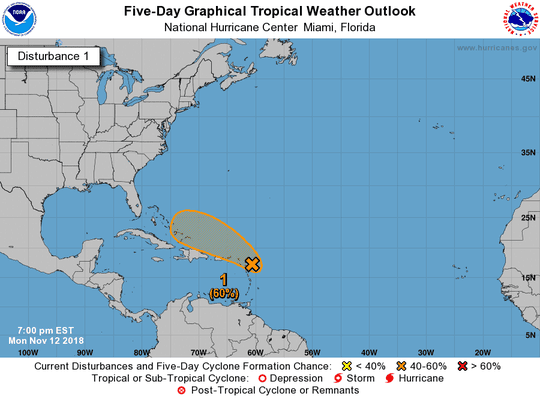 A tropical system in the Western Atlantic had a 60 percent chance of developing into a named storm as of 7 p.m. Monday, Nov. 12, 2018.
