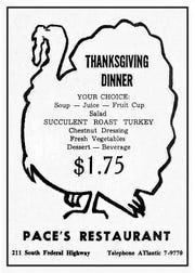 Pace's Restaurant advertisement in 1959.  (Source:  Luckhardt collection) 3.Ships Lantern Restaurant advertisement in 1957. (Source:  Luckhardt collection) 4.Bruce & Harry's Restaurant in the 1950s.  (Source: Stuart Heritage Museum) 5.Swanson TV Turkey Dinner in 1954.  (Source:  Luckhardt collection) 6.Hartman-Leighton Furniture Store in 1959.  (Stuart Heritage Museum)