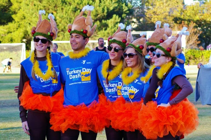 Dressed up as turkeys, runners get ready to burn off calories during the Conejo Valley YMCA's annual Turkey Day Dash. This is the 14th year of the run, which will take place Nov. 22 at California Lutheran University in Thousand Oaks.