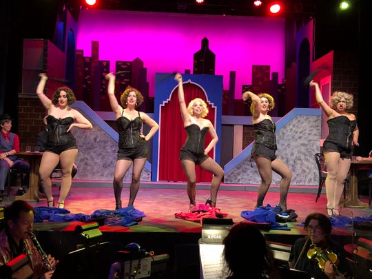 "Dancing from left are Kena Brooke, Malissa Marlow, Dawn Notagiacomo as Adelaide, Betty-Jean Drago Hanna and Ana Maria Saavedra Park in Actors' Repertory Theatre of Simi's production of ""Guys and Dolls."""