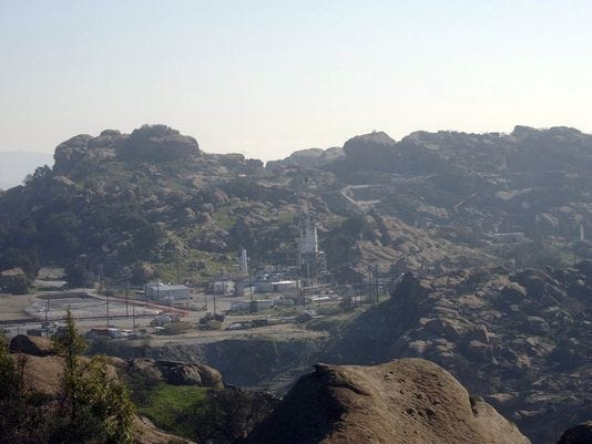 Santa Susana Field Laboratory clean-up activists are concerned that hazardous materials may have been released when the Woolsey Fire burned a portion of the contaminated site last week. The site is pictured before the fire.