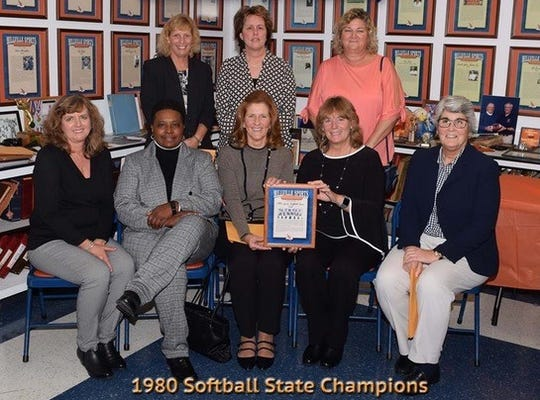 The Millville HIgh School softball team won the 1980 state championship. Front row from left - Kim Garron DeAngelo, Angela Carey, Cathy Neder, Patty Sturgis Stockell, Michele Powers. Back row from left - Jackie Renyo, Lynette Morgan Polhamus, Lisa Greer Junghans.
