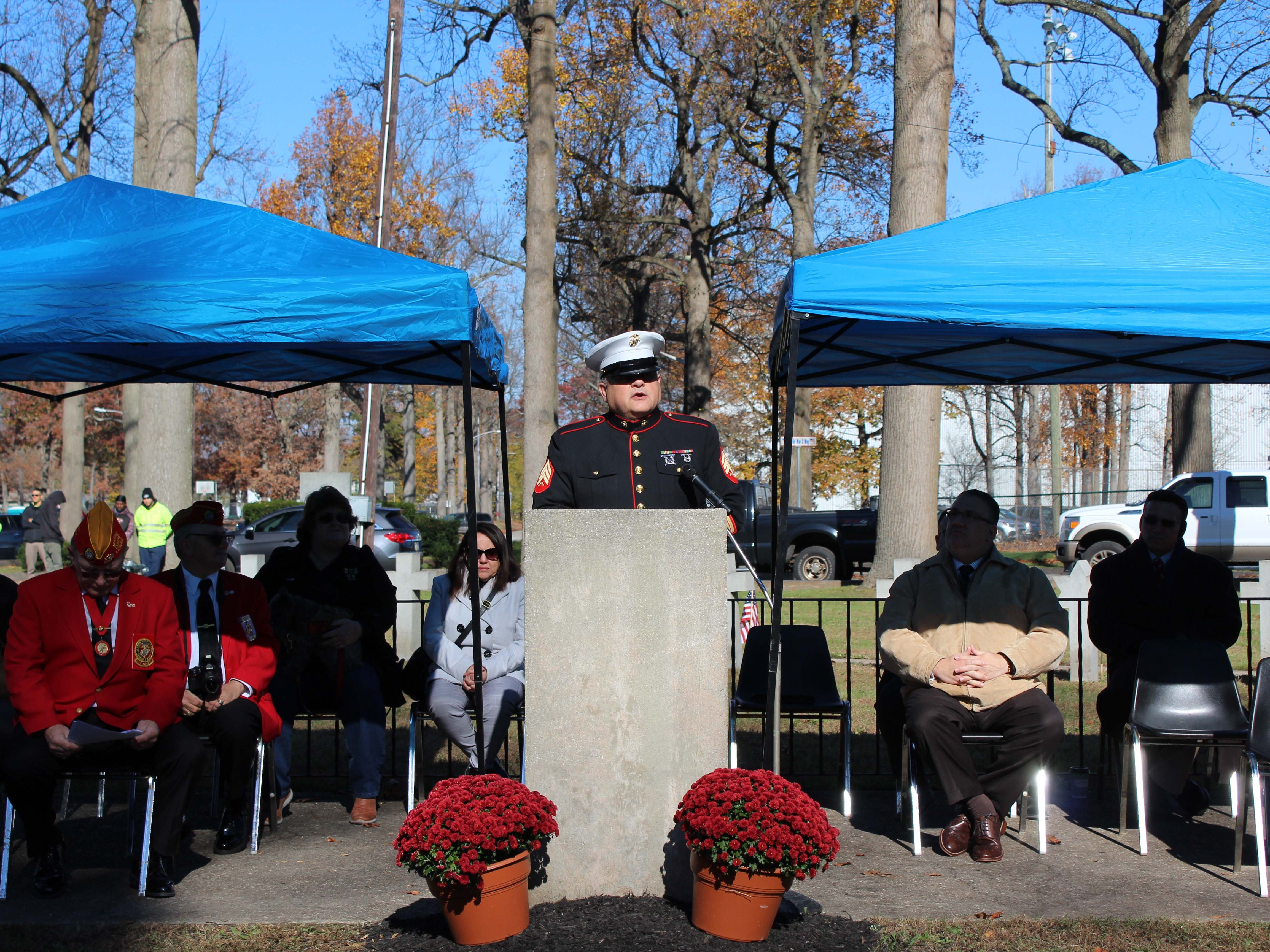 U.S. Marine veteran and retired police officer, Edwin Alicea was the ceremony's guest speaker.