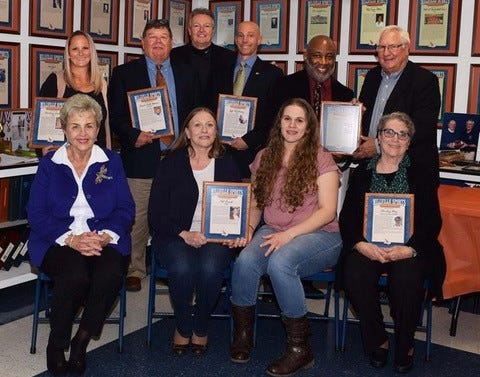 The Millville Sports Hall of Fame inducted its Class of 2018 on Sat., Nov. 10. Seating- Murel TenBrook accepting for John TenBrook Legacy, Debra Finch, Lauren Finch accepting for Pat Finch, 1970's, Shirley Ney, Contributor Standing- Britney Ewan, 2000's,  Bill Hoover, Coach, Craig Atkinson President Millville Thunderbolt Club, Jeff Whiteway, 1980's,  Ron Lamb, 1970's  Tony Surace accepting for Brian Surace, 1990's.