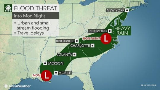 Flooding could be an issue along the East Coast on Monday night.