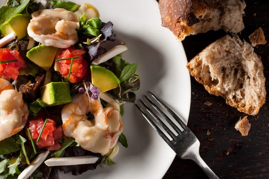 Steamed shrimp salad with avocado, mushroom, tomato with champagne vinaigrette at The Inn at Pound Ridge by Jean-Georges in Pound Ridge.