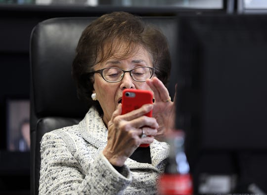 Congresswoman Nita Lowey looks to see how many women are now in Congress at her office in White Plains Nov. 12, 2018