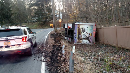 A milk truck rolled over on South Monsey Road in Ramapo on Nov. 12, 2018.