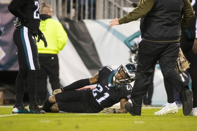 Eagles' Ronald Darby lays on the ground with an injury Sunday at Lincoln Financial Field.