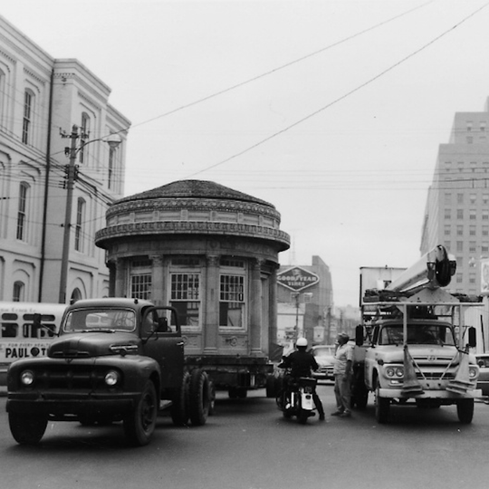 The structure was moved from downtown Wilmington to the grounds of Tatnall School in 1964.
