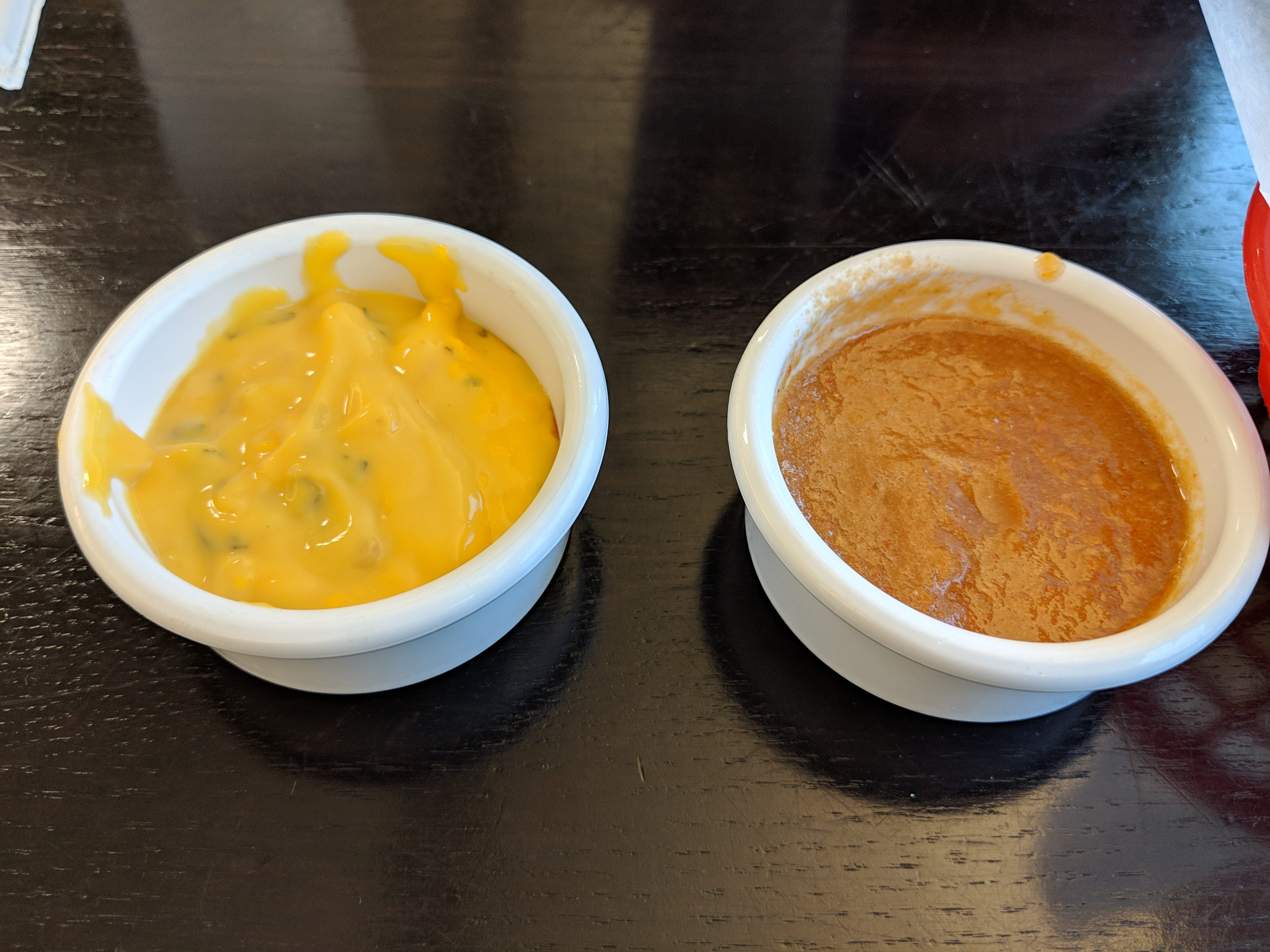 The queso and salsa served with the tortilla chips at Emanuel #3 Salvadorian and Mexican Restaurant at 902 Board St.