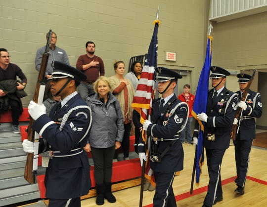 Members of the Sheppard Air Force Base Honor Guard presented the colors during Christ Academy's annual Veteran's Day Assembly Monday afternoon.