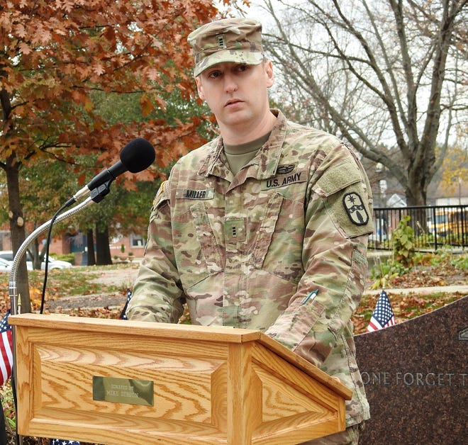 Zac Miller, Assistant Veterans Service officer for Coshocton County and CW3 with the Army National Guard, was the guest speaker at a Veterans Day ceremony Monday on the Coshocton County Court Square.