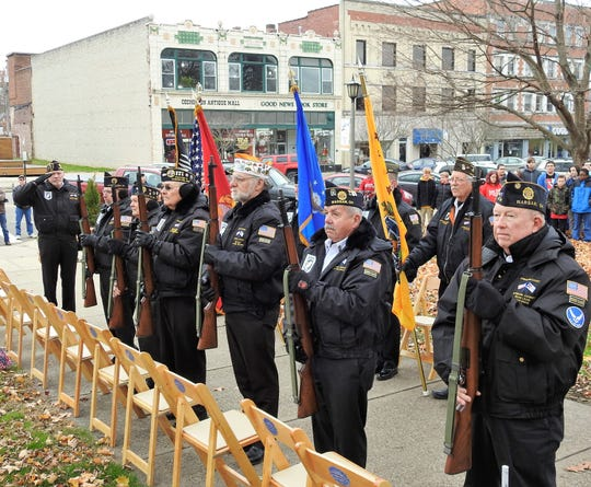 The Coshocton County Army Guard presented the colors and performed a gun salute for a Veterans Day ceremony Monday on the Coshocton Court Square.
