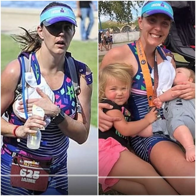 Jaime Sloan pumped breast milk while running a triathlon so she could beat her personal best.