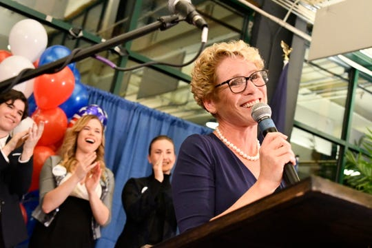 epaselect epa07147446 Democrat Chrissy Houlahan declares victory over Republican Greg McCauley at her election night headquarters during the 2018 mid-term general election, at Franklin Hall, in Phoenixville, Pennsylvania, USA, 06 November 2018.  EPA-EFE/BASTIAAN SLABBERS ORG XMIT: (Your Initials)01, 02, 03 etc
