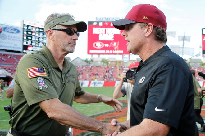 Buccaneers coach Dirk Koetter and Redskins coach Jay Gruden greet each other after Washington's 16-3 win.