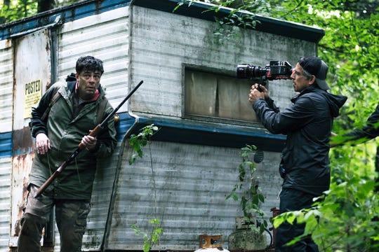 Ben Stiller behind the scenes with Benicio del Toro on the set of Showtime miniseries 'Escape At Dannemora.'