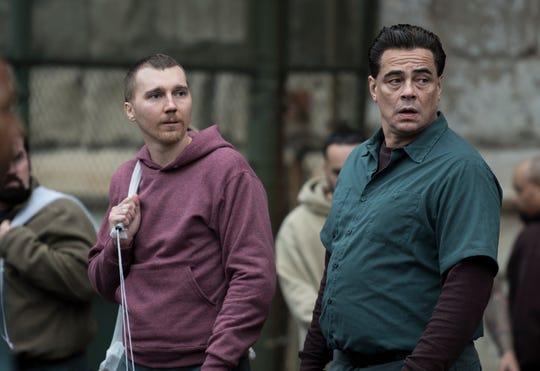 Paul Dano as Richard Sweat and Benicio del Toro as Richard Matt, the prisoners at the center of Showtime's 'Escape at Dannemora'