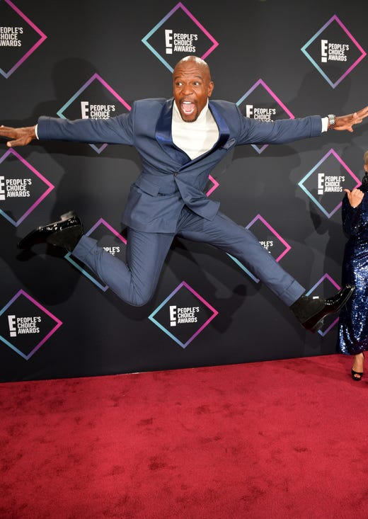 November is upon us, and your favorite stars are keeping busy with award shows, performances and exciting milestone celebrations. Here, Terry Crews poses mid-air on the red carpet at the People's Choice Awards on November 11.