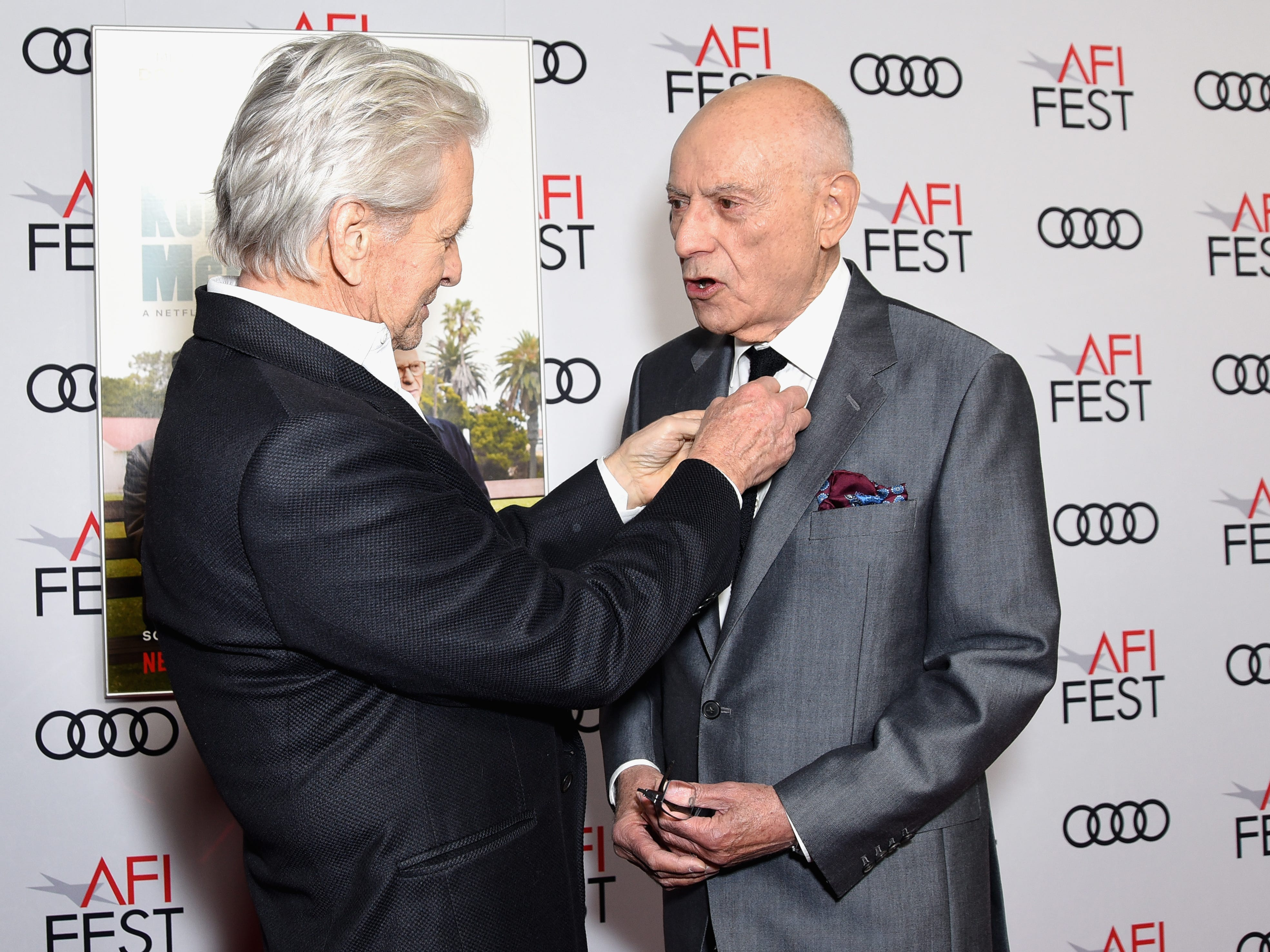 "HOLLYWOOD, CA - NOVEMBER 10:  Michael Douglas (L) and Alan Arkin attend the Gala Screening of ""The Kominsky Method"" at AFI FEST 2018 Presented By Audi at TCL Chinese Theatre on November 10, 2018 in Hollywood, California.  (Photo by Presley Ann/Getty Images for AFI) ORG XMIT: 775252145 ORIG FILE ID: 1060102530"