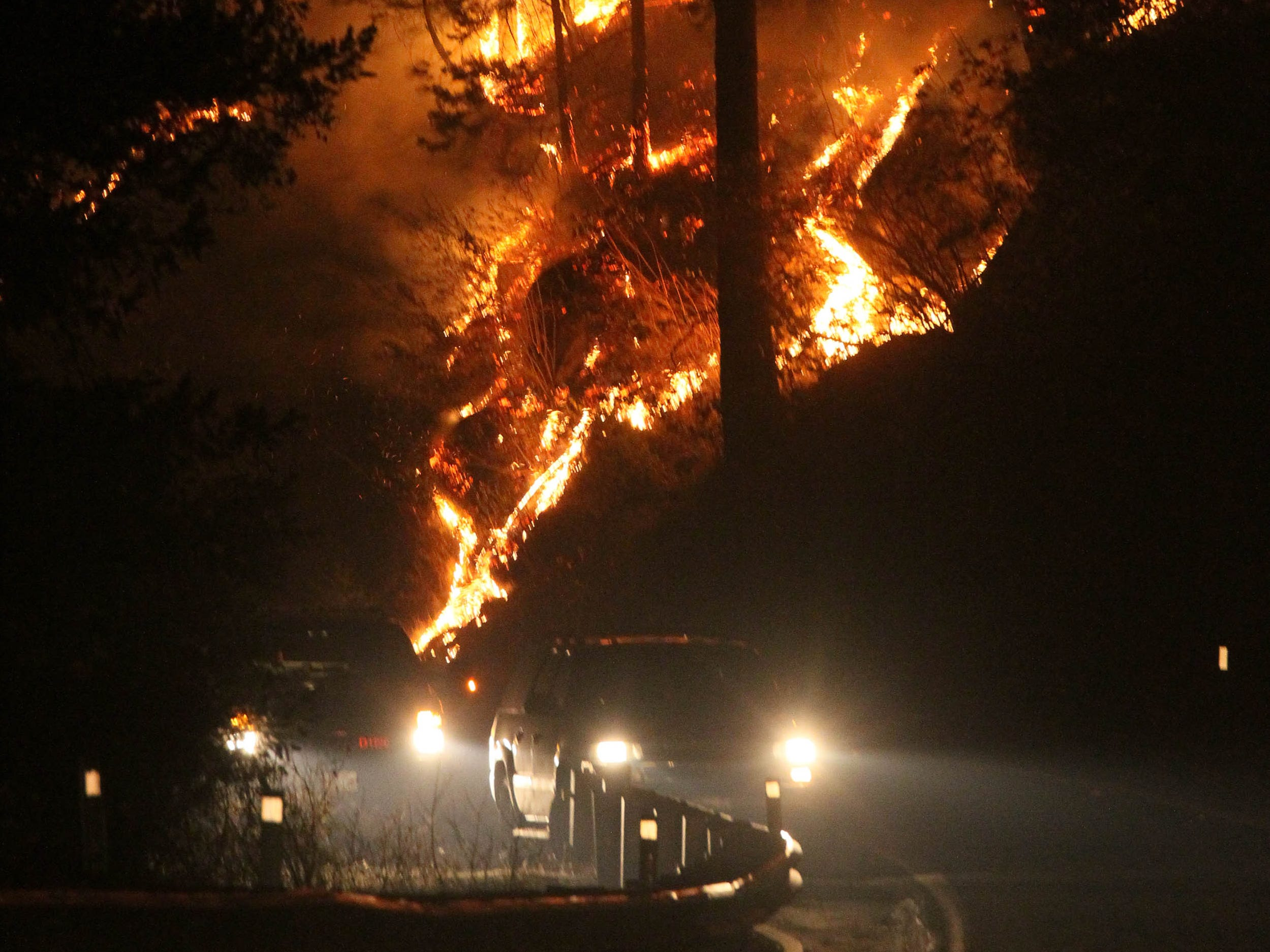 Fire burns in Concow, Calif. on Nov. 11, 2018.