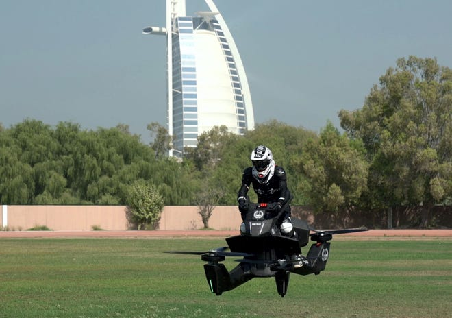 Dubai Police are training on Hoversurf's S3 2019 hoverbike and plans to add the futuristic vehicle to its patrol squads by 2020.