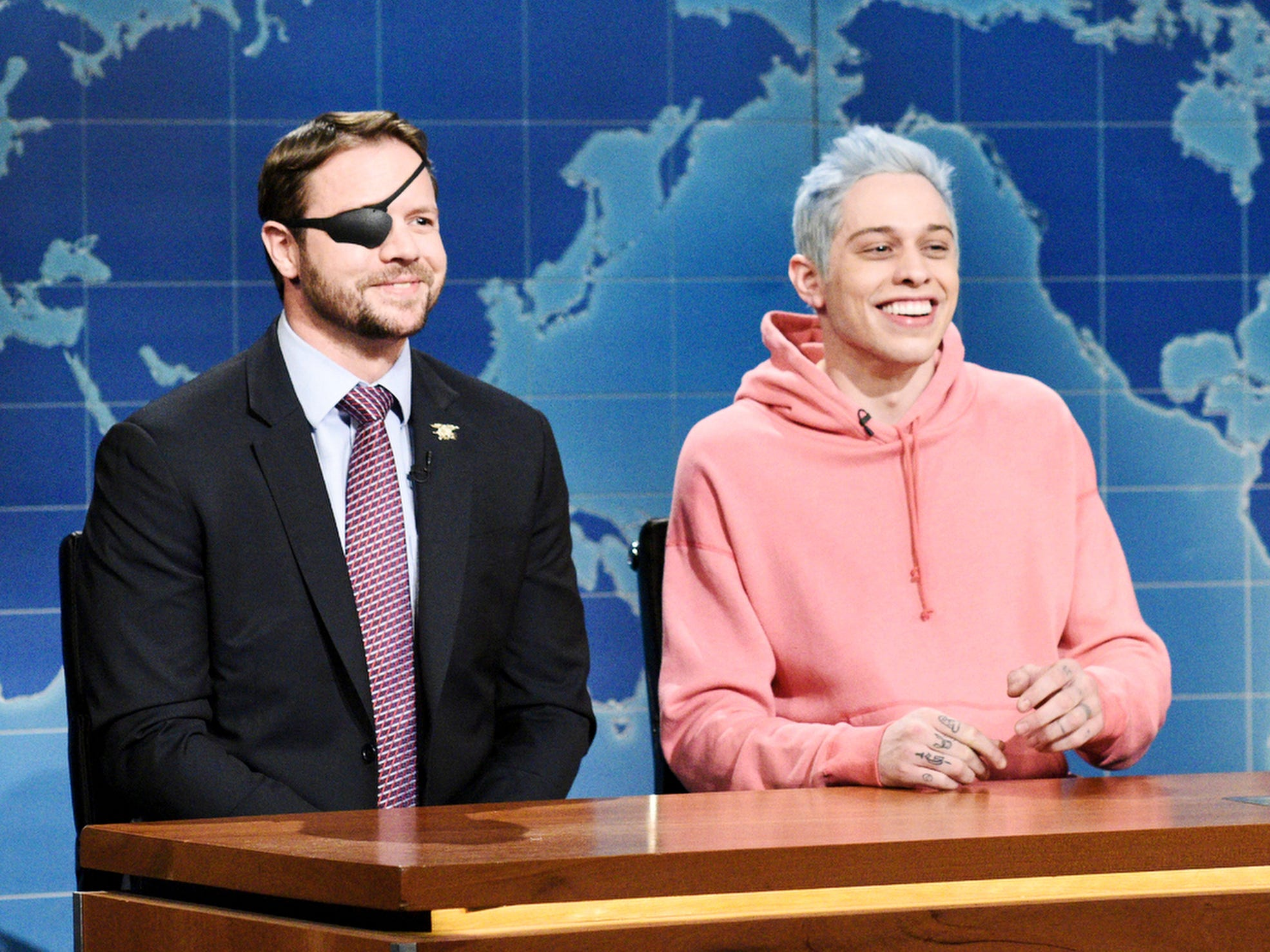 "A week after Pete Davidson received criticism for his jokes about military veteran Dan Crenshaw running for public office, the former Navy SEAL got his turn at the ""Weekend Update"" desk in the Nov. 10 episode. The newly-elected Congressman cracked jokes at Davidson's expense and taunted him with a ringtone from the comedian's ex-ex-fiancee, Ariana Grande. But he ended with a serious message of unity. ""There's a lot to learn here,"" Crenshaw said. ""Not just that the left and right can still agree on some things, but also, Americans can forgive one another. We can remember what brings us together as a country and still see the good in each other."""