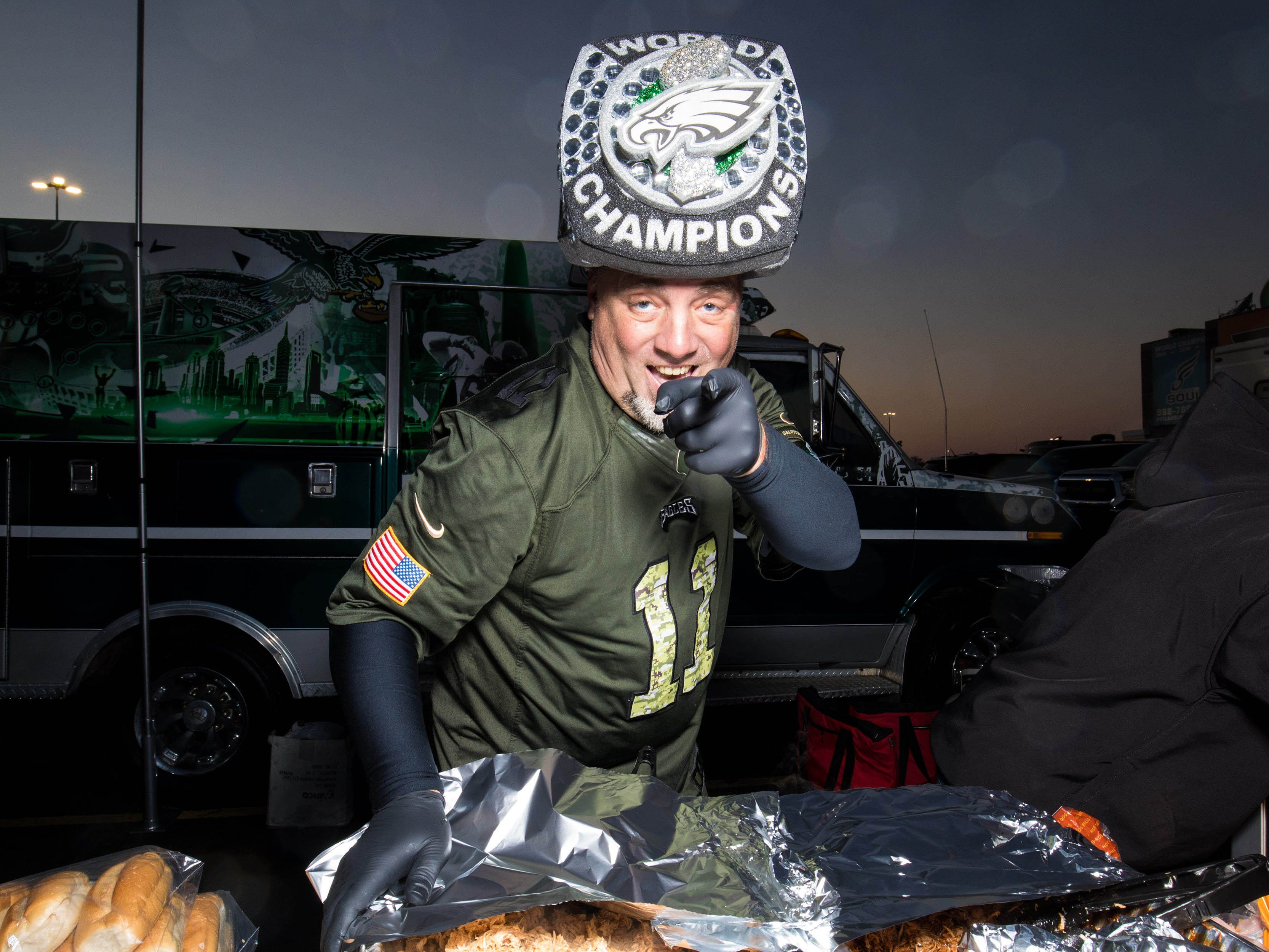 Philadelphia Eagles fan Mike Young poses for a photo outside Lincoln Financial Field before action against the Dallas Cowboys.