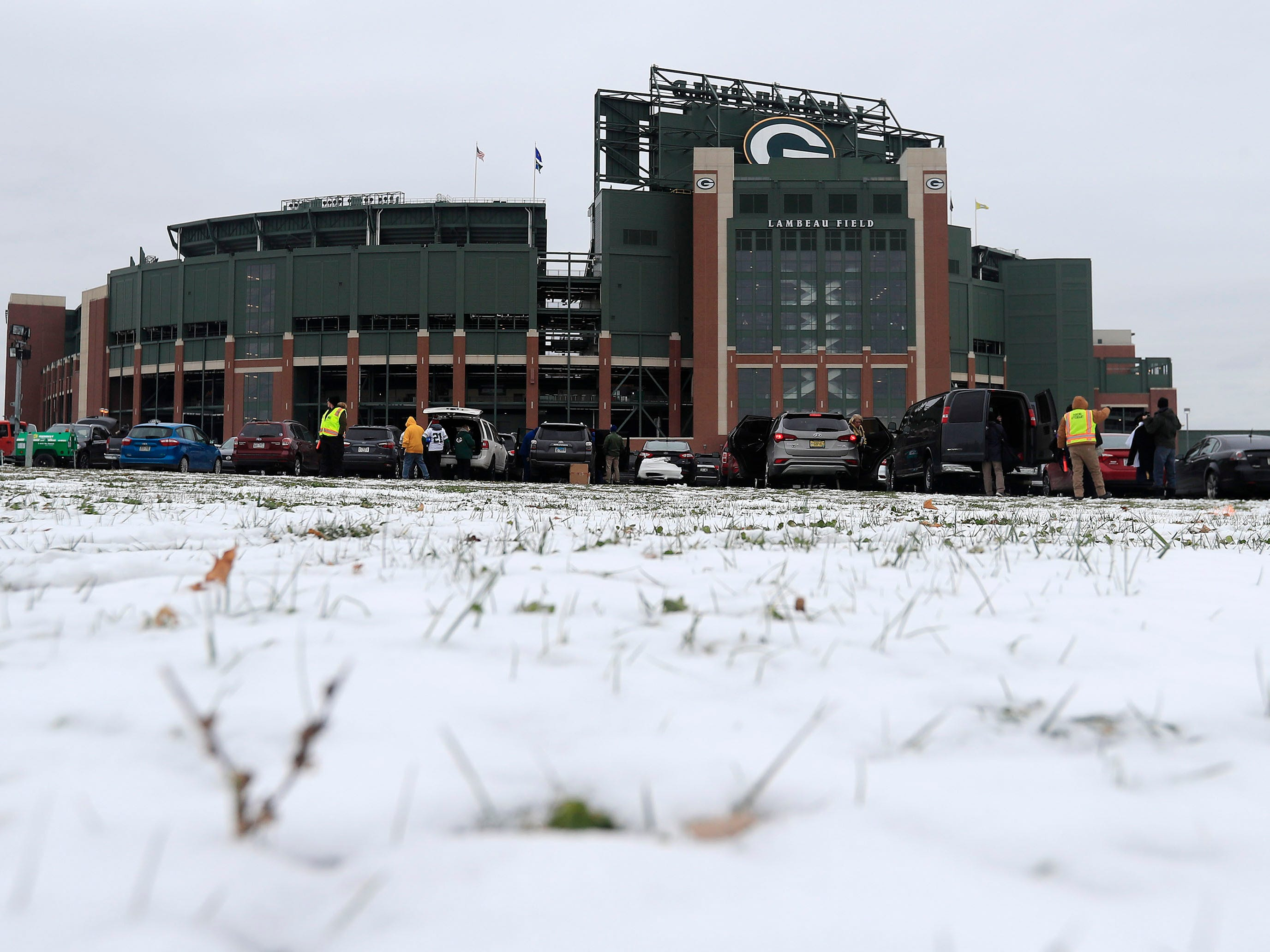 Snow covers the ground outside Lambeau Field prior to the game between the Miami Dolphins and the Green Bay Packers.